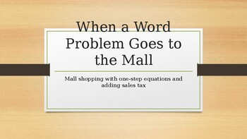 When a Word Problem Goes to the Mall