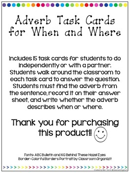 When and Where Adverb Task Cards