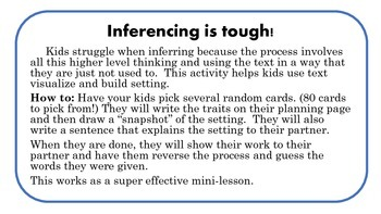 When and Where is that: 80 setting inference cards