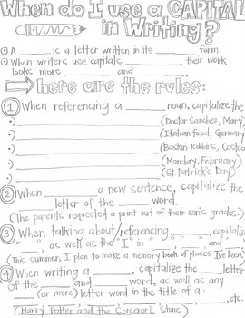 When do I use a Capital in Writing?-Grammar CLOZE Notes and Practice (ESL!)