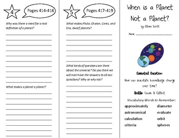 When is a Planet Not a Planet Trifold - Wonders 5th Grade