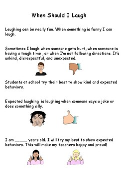 When is it appropriate to laugh social story