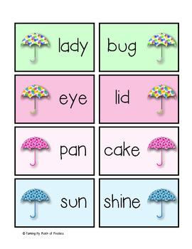 When it Rains, it Pours! Compound Word Concentration Game ~ Freebie
