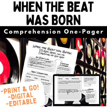 When the Beat Was Born Comprehension & Response One-Pager (Editable!)