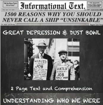 Great Depression and Dust Bowl:  Informational Text Worksheet