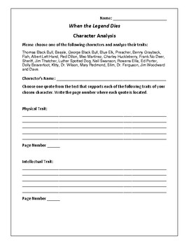 When the Legend Dies - Character Analysis Activity - Hal Borland