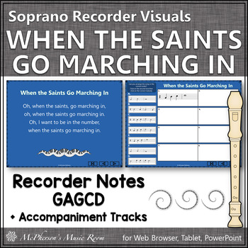 When the Saints Go Marching In - Soprano Recorder Visuals (Notes GABCD)