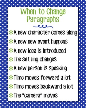 When to Change Paragraphs Anchor Chart, Blue Polka Dot