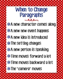 When to Change Paragraphs Anchor Chart, Red Polka Dot