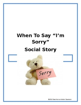 When to Say I'm Sorry Social Story