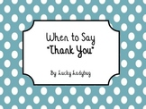 When to Say Thank You: Social Story