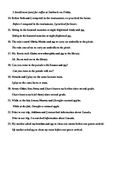 When to Use I and Me in Sentences Worksheet and Answer Key