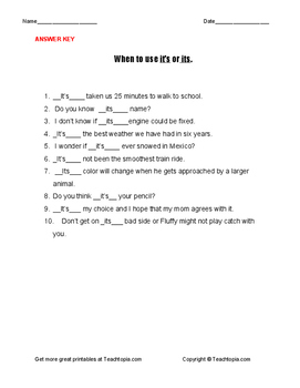 When  to Use it's or its grammar worksheet  Explanations, examples, & practice.