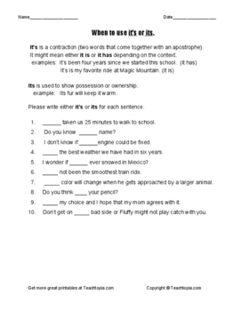 When  to Use it's or its grammar worksheet  Explanations,