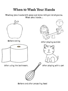 when to wash your hands coloring sheet - Washing Hands Coloring Page