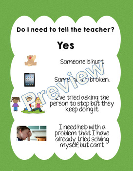 When to tell the teacher - display posters