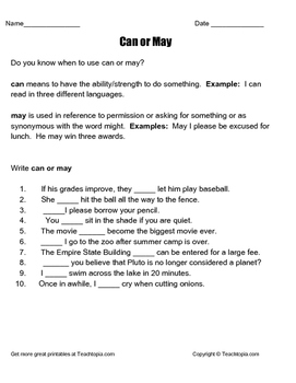 When to use Can or May.  A great worksheet with definitions, examples and a key.