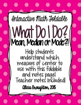 When to use Mean, Median & Mode - Interactive Math Foldable