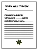 When will it snow? writing page