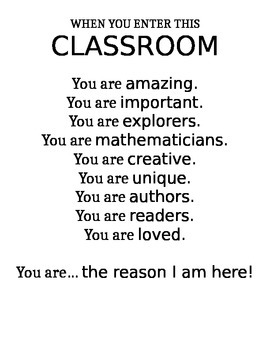 When you enter this classroom..