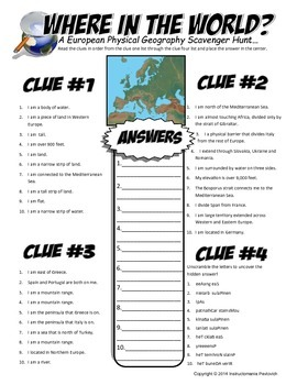 In the world scavanger hunt map activity physical geography of europe where in the world scavanger hunt map activity physical geography of europe gumiabroncs Gallery