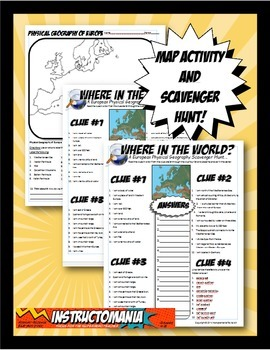 Where in the World Scavanger Hunt & Map Activity Physical Geography of Europe