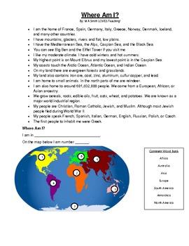 Where Am I? - A Continent Fact Sheet