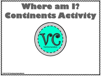 Where Am I? Continents Activity