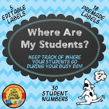 Where Are My Students? Editable Student Management Labels- Blue Chevron