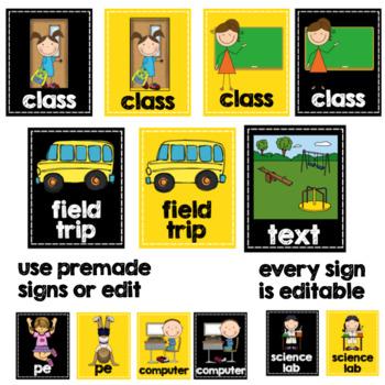 Class Location Cards- Bee Theme Editable