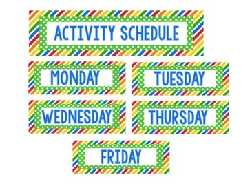 Where Are We Activity Schedule Cards-Labels Sports Theme