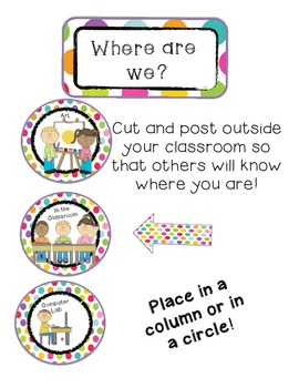 Where Are We Board- Colorful Polka Dot Edition (Signs/Posters)