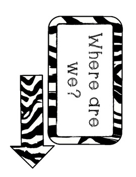 Where Are We Board- Jungle or Zebra Theme (Signs/Posters)