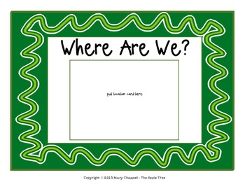 "Class Location Cards ""Where Are We?"" Ribbons & Stripes Theme"