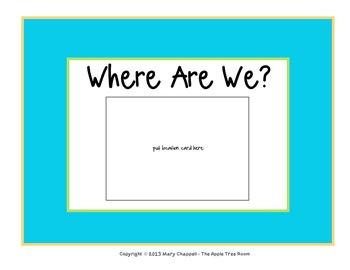 """Class Location Cards """"Where Are We?"""" Bright Chevron"""
