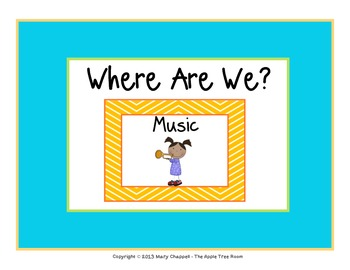 "Class Location Cards ""Where Are We?"" Bright Chevron"