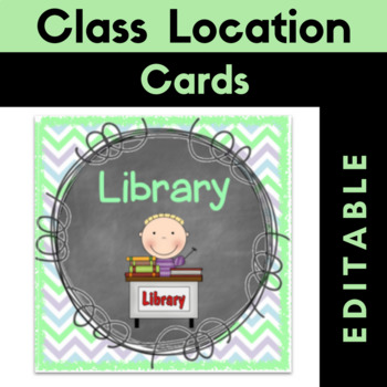 """Class Location Cards {Editable} """"Where Are We?"""" Chalkboard Theme"""