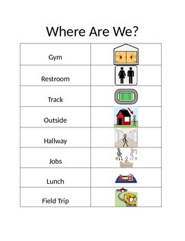 Where Are We Classroom Door Sign