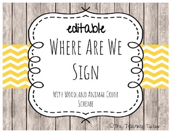 Editable Where Are We Classroom Door Sign