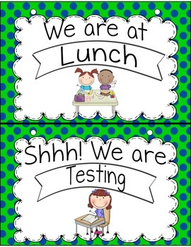 Where Are We? Classroom Helper Posters Navy Lime Dots