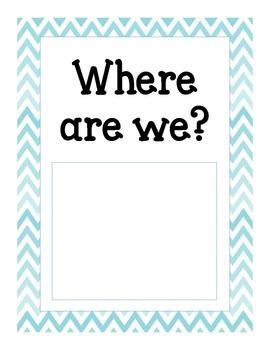 Chevron Where Are We Classroom Signs