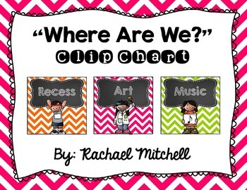 Where Are We? Clip Chart- Bright Chevron & Chalkboard {Square Design}
