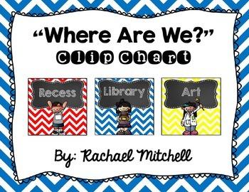 Where Are We? Clip Chart- Primary Chevron & Chalkboard {Square Design}