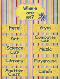 Where Are We? {Editable} Colorful Classroom Management Sign