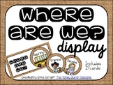 Where Are We? Display in burlap