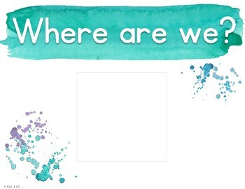 Where Are We? Door Sign {Calm & Cool Watercolor}