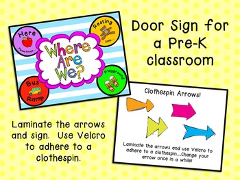 Where Are We Door Sign - PreK Classroom FREEBIE