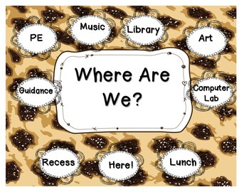 Where Are We? Jungle Themed Cheetah Print Classroom Sign
