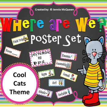 Where Are We? Poster Set (Cat theme)