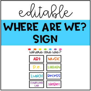 Where Are We Sign Bright Colors Editable